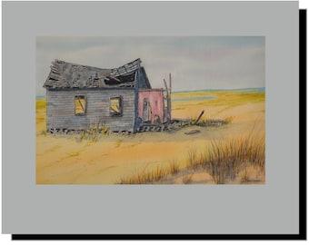 Long Beach Island LBI NJ Shack on Causeway, Original Watercolor Mounted Print 11x14