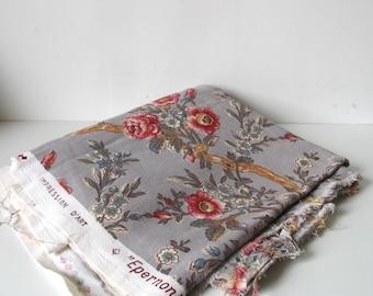 Vintage 60s French ROMANEX  de BOUSSAC Floral linen upholstery Home Fabric // cottage //