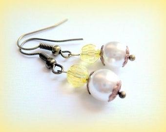 Earrings ivory pearls and yellow handmade