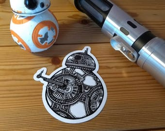 BB8 Sticker - Monochrome Design - Star Wars - Droid  - Geeky Gift