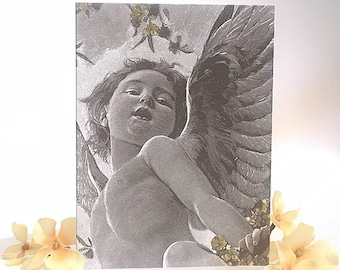 Set of 8 Iridescent Blank Cards with Envelopes Cherub Collection
