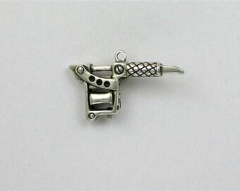Tattoo gun pendant etsy sterling silver 3 d tattoo gun charm aloadofball Gallery