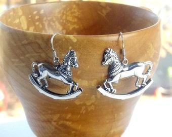 Silver Rocking Horse Earrings Hook