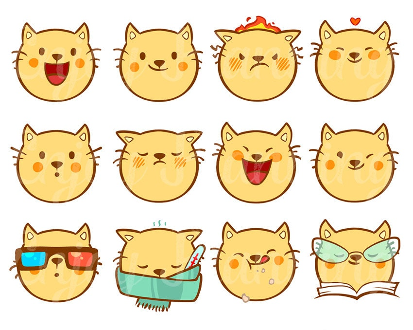 Popolare Printable Cute Cats Kawaii Stickers Cats Kawaii planner OO68