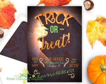 Trick or Treat Halloween Party Invitation • Custom •Print Yourself or Here for A Buck!