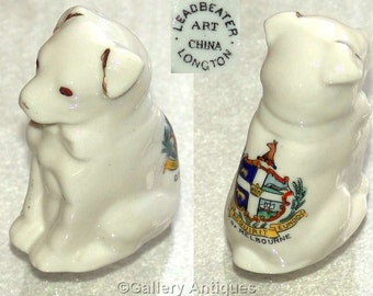 Edwardian art nouveau Antique Leadbeater Art China Longton, Crested China Dog with Crest of the City of Melbourne c1900's (ref: 4004)