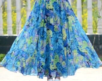 blue floral skirt,chiffon skirt,long summer skirt,chiffon maxi skirt,full skirt,long skirt,boho maxi skirt