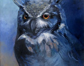 Owl Great Horned 'Print of Original' oil Painting colorful Blue Night Wise