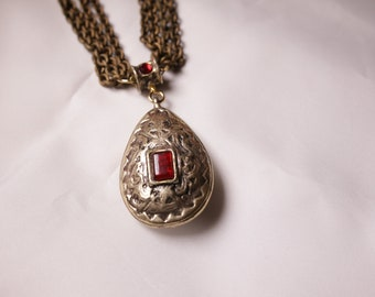 Gold and Red Stone Necklace