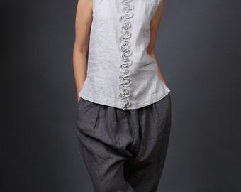 Linen blouse / Womens blouse / Natural linen sleeveless blouse / Linen shirt / Linen top / plus size blouse