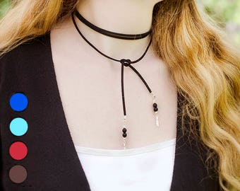 Unique Gift for Sister Suede Wrap Necklace Wrap Choker Necklace Black Suede Choker Black Tie Necklace Wrap Around Necklace Faux Cord Choker