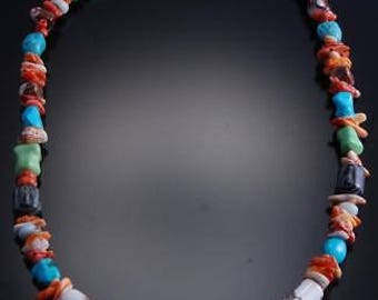 """16"""" Multistone Nugget Natural Stones with Turquoise Necklace by Val Tsosie 7I26Y"""
