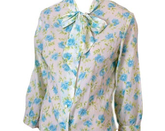 Vintage 1950s Cream Blouse with Delicate Blue Floral Print and Neckbow /