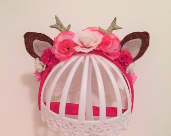 Pink and white deer Bambi baby headband, newborn infant headpiece