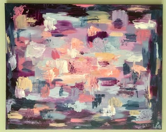 Large Abstract Original Acrylic Painting Grape Sunset