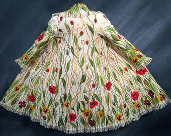 Women long felted wool floral coat fantasy fringe Art to wear OOAK size L ready to ship