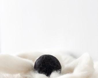 Alpaca Wool Dryer Balls || Set of 3 || Black wool || Natural Laundry Supply