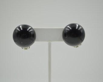 Vintage round black clip on earrings black