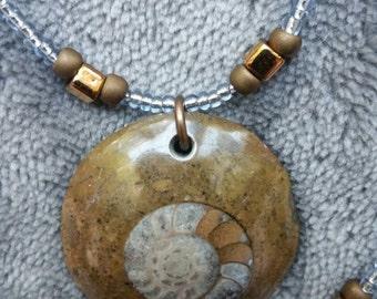 Hand beaded Ammonite Necklace