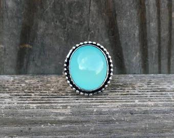 Aqua Chalcedony Ring - Green - Chalcedony Ring - Bohemian Ring - Sterling Silver - Blue Ring - Gemstone Ring - Bezel Set - Silver - Gem