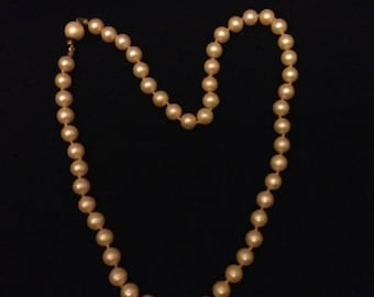 Choker Necklace Champagne Faux Pearls Choker Necklace Vintage Gift for Mom Gift for Her