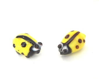 lampwork yellow Ladybug with black dots glass beads x 2