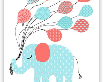 Elephant Nursery Decor, Elephant Wall Art, Girl Nursery Decor, Aqua and Coral, Nursery Wall Art, Elephant Canvas Art, Baby Girl Wall Decor