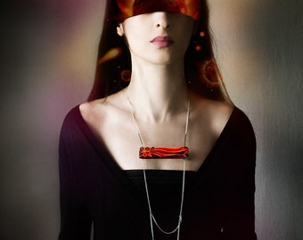 Сomet wooden chain necklace, red and purple faceted minimalist necklace, wood and chains fashion jewelry