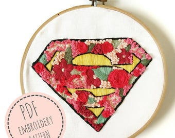 Embroidery Superman-Superman Logo-Blossom Superman- Embroidery Pattern- PDF Digital Download- Superhero logo-Superhero embroidery design