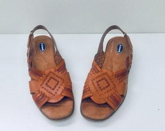 90s Huarache Sandals Flats Leather Shoes Size 7.5 37 38 by Dr Scholls