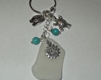 Beach Bum Keychain -  Beach Glass Keyring - Sea Glass Purse fob.