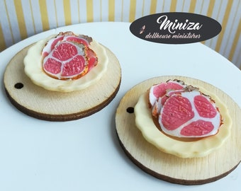 Miniature plates with ham, 1:12 scale