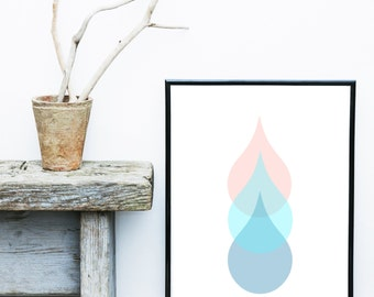Teardrop Print, Abstract Art , Printable Art, Scandinavian Art, Abstract Wall Art, Instant Download, Home Decor, Wall Decor