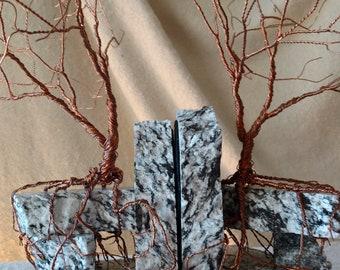Book Ends: Copper on Black & White Granite