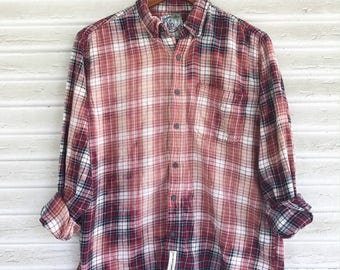 SMALL - Flannel Shirt - Bleached - Vintage Washed Flannel - Oversized Flannel - Distressed Flannel - Plaid Shirt - Fall Shirt - #55-BM