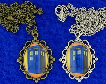Dr Who Tardis Police Box Necklace or Keychain Doctor Who Orange through Yellow Background