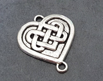 Celtic pendant, Celtic heart, heart charm, infinity pendant 25 mm x 5, love pendant, jewelry connector, heart connector
