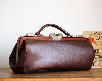 Vintage leather bag - Vintage leather bag - Old leather bag - Vintage bag - Leather bag early 20th century - Handbag - Antique collection
