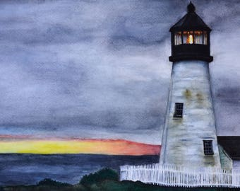 """Stormy Lighthouse, original watercolor painting by Meike Geisler; 8.5"""" x 11.25"""", grays, blues, greens, yellow and red"""