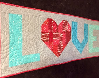 Love Quilted Wall-Hanging/ Table Topper