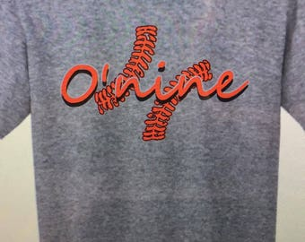 O nine t shirt is my 12 yr daughters number .Profits will be going toward to further her softball and college.