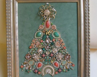 Jeweled Framed Jewelry Art Christmas Tree Art Deco Pastel Green Peach Coral