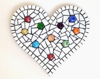 Mosaic Heart Wall Decor, rainbow polka dot heart