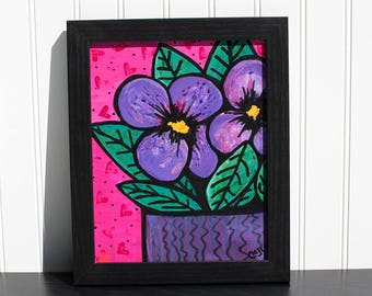 Purple Pansies Wall Art - Original Mixed Media Floral Still Life - Pink and Purple Flower Painting by Claudine Intner
