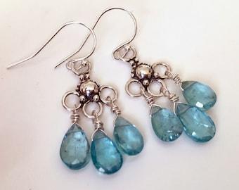 Apatite and Sterling Trio Chandelier Earrings, gemstone earrings, natural apatite, bright blue earrings