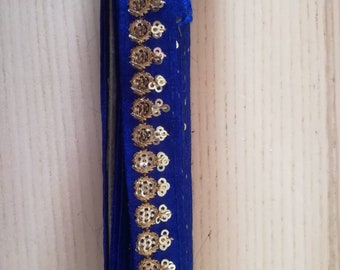 Cobalt blue trim embroidered patterns 2cm