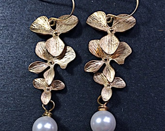 Gold Orchid Earrings Gifts for Her Bridal Pearl Floral by MinouBazaar