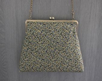 Geometric blue-brown/ Kimono bag/ Vintage / Cross body bag /Hand-made