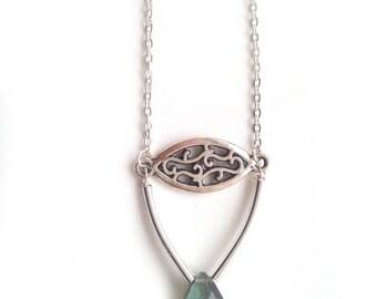 Labradorite Tear Drop Pendant Necklace, Silver plated, Filigree, Ditsy Jewelry