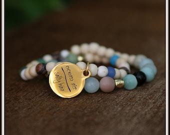 "2 Bracelet Set Beaded Jewelry, CHARM BRACELET SET, ""Ocean Air Salty Hair"" 2 Gemstone Bracelets, Beachy Stack Bracelet Yoga, Stretch, Women"